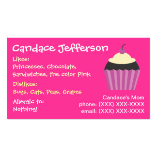 Girl's Cupcake Mommy Card Business Cards