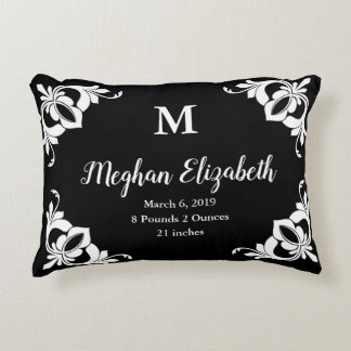 Girl's Custom Monogram and Name Black and White Decorative Cushion