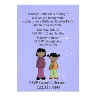Girl's Custom Slumber Party Birthday Invitation