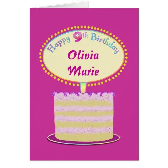 Girls Cute 9th Birthday Personalise It Card