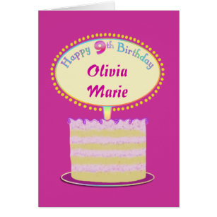 Happy 9th birthday cards invitations zazzle girls cute 9th birthday personalize it card bookmarktalkfo Images