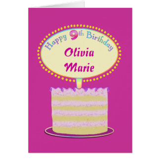 Girls Cute 9th Birthday Personalize It Card