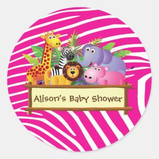 Girls cute jungle safari baby shower favor favours classic round sticker