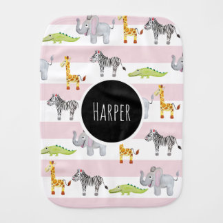 Girl's Cute Pink Striped Safari Animals with Name Burp Cloth