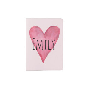 Girls Cute Pink Watercolor Heart First Kids Passport Holder