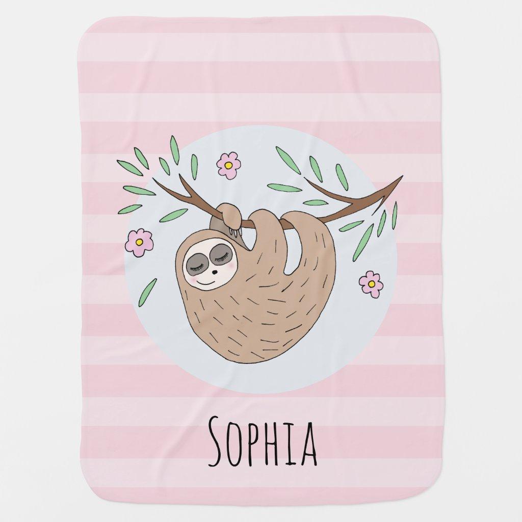 Girls Cute Sleeping Sloth Animal and Name Baby Blanket
