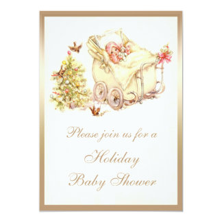 Girls Cute Vintage Christmas Baby Shower 13 Cm X 18 Cm Invitation Card