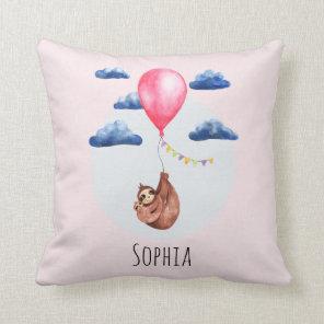 Girls Cute Watercolor Sloth Animal and Name Kids Cushion