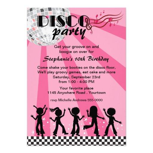 Girls Disco Birthday Personalized Announcement