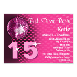 Girl's Disco Birthday Party Card