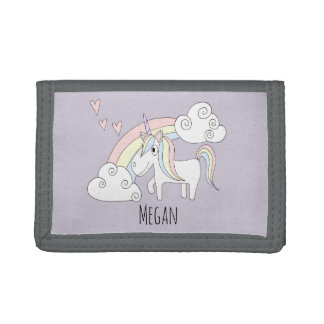 Girl's Doodle Unicorn Rainbow & Name Children's Tri-fold Wallets