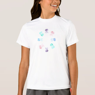 Girls' double-dry T-shirt with jellyfishes
