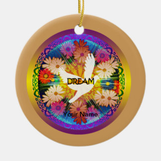 "Girls""Dove Dream"" Floral design Christmas Ornament"