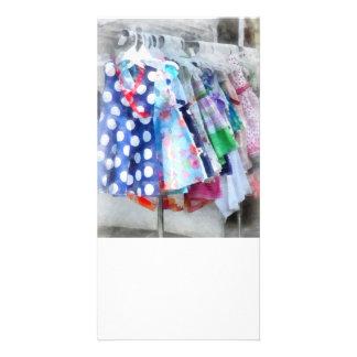 Girl's Dresses at Street Fair Personalised Photo Card