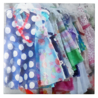 Girl's Dresses at Street Fair Ceramic Tile