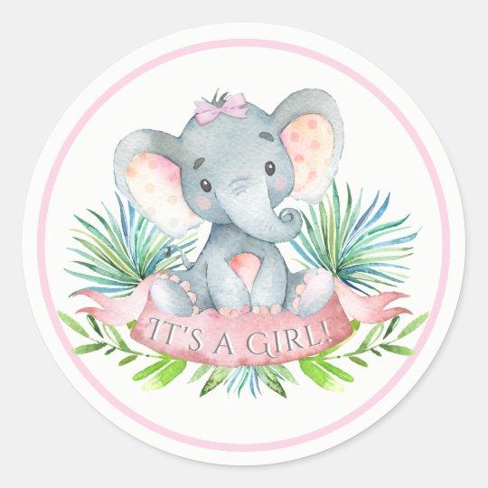 Girls Elephant Baby Shower Stickers Zazzle Co Uk