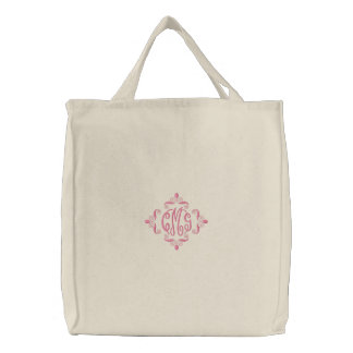 Girls Embroidered Monogram Canvas Tote Bag