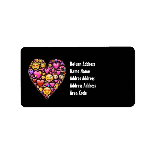 Girls Emoji Pink Black Personalised Address Labels