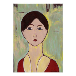 Girl's Face After Matisse Poster