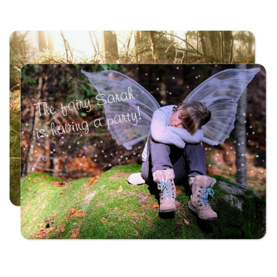 Girls Fairy Themed Birthday Party Photo Card