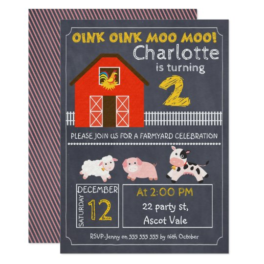 Girls Farmyard Chalkboard 2nd Birthday Invitation