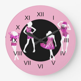 Girls fashion models girly pink wall clock