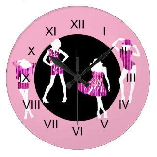 Girls fashion models girly pink wall clock