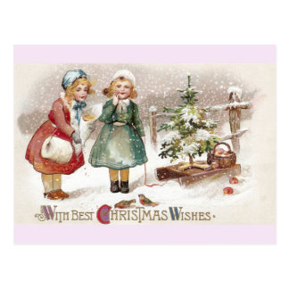 Girls Feeding Birds and Sled with Tree Vintage Postcard
