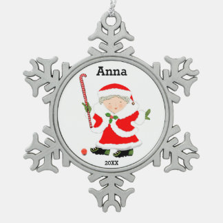 Girls Field Hockey Snowflake Pewter Christmas Ornament