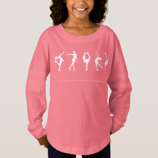 Girls Figure Skaters Long Sleeve Pink Jersey Shirt