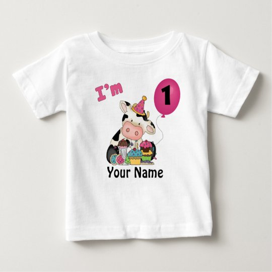 Girls First Birthday Cow Baby T-Shirt