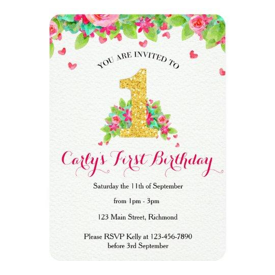 Girls First Birthday Invitation - Pink & Gold