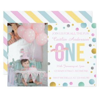 Girls FIrst Birthday Invitation - Polka Dots