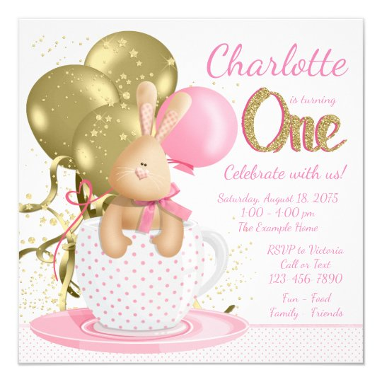 Girls First Birthday Party Whimsical Pink Gold Card