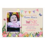 Girl's First Butterfly Garden One Birthday Invite