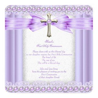 Girls First Holy Communion Cross Pretty Lavender 13 Cm X 13 Cm Square Invitation Card