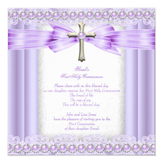Girls First Holy Communion Cross Pretty Lavender 13 Cm X 13 Cm Square Invitation Card