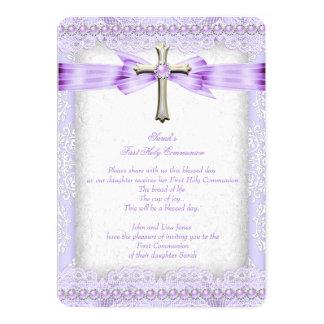 Girls First Holy Communion Cross Pretty Lavender 2 13 Cm X 18 Cm Invitation Card