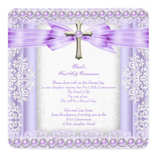 Girls First Holy Communion Cross Pretty Lavender 2 Card
