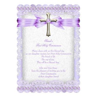 "Girls First Holy Communion Cross Pretty Lavender 2 5"" X 7"" Invitation Card"