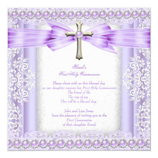 Girls First Holy Communion Cross Pretty Lavender 2 5.25x5.25 Square Paper Invitation Card