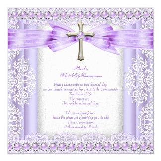 "Girls First Holy Communion Cross Pretty Lavender 2 5.25"" Square Invitation Card"