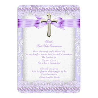 Girls First Holy Communion Cross Pretty Lavender 2 5x7 Paper Invitation Card