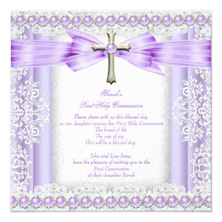 Girls First Holy Communion Cross Pretty Lavender 3 13 Cm X 13 Cm Square Invitation Card