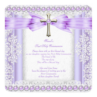 Girls First Holy Communion Cross Pretty Lavender 3 5.25x5.25 Square Paper Invitation Card