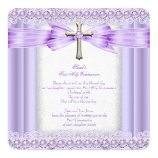 Girls First Holy Communion Cross Pretty Lavender 5.25x5.25 Square Paper Invitation Card