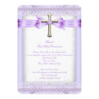 Girls First Holy Communion Cross Pretty Lavender 5x7 Paper Invitation Card