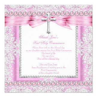 Girls First Holy Communion Cross Pretty Pink Pearl 13 Cm X 13 Cm Square Invitation Card