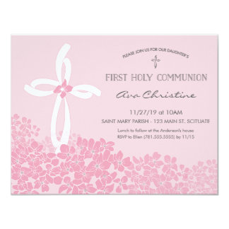 Girl's First Holy Communion Invitation w/ Cross