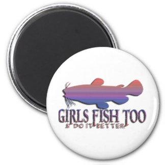 GIRLS FISH TOO CATFISH 6 CM ROUND MAGNET